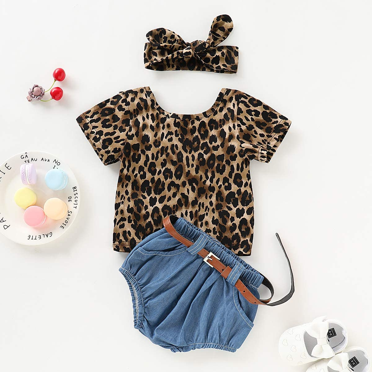 YOUNGER TREE Kids Toddler Baby Girls Shorts Set Leopard Print Backless T-Shirt Tank Top Denim Shorts Summer Clothes Outfits