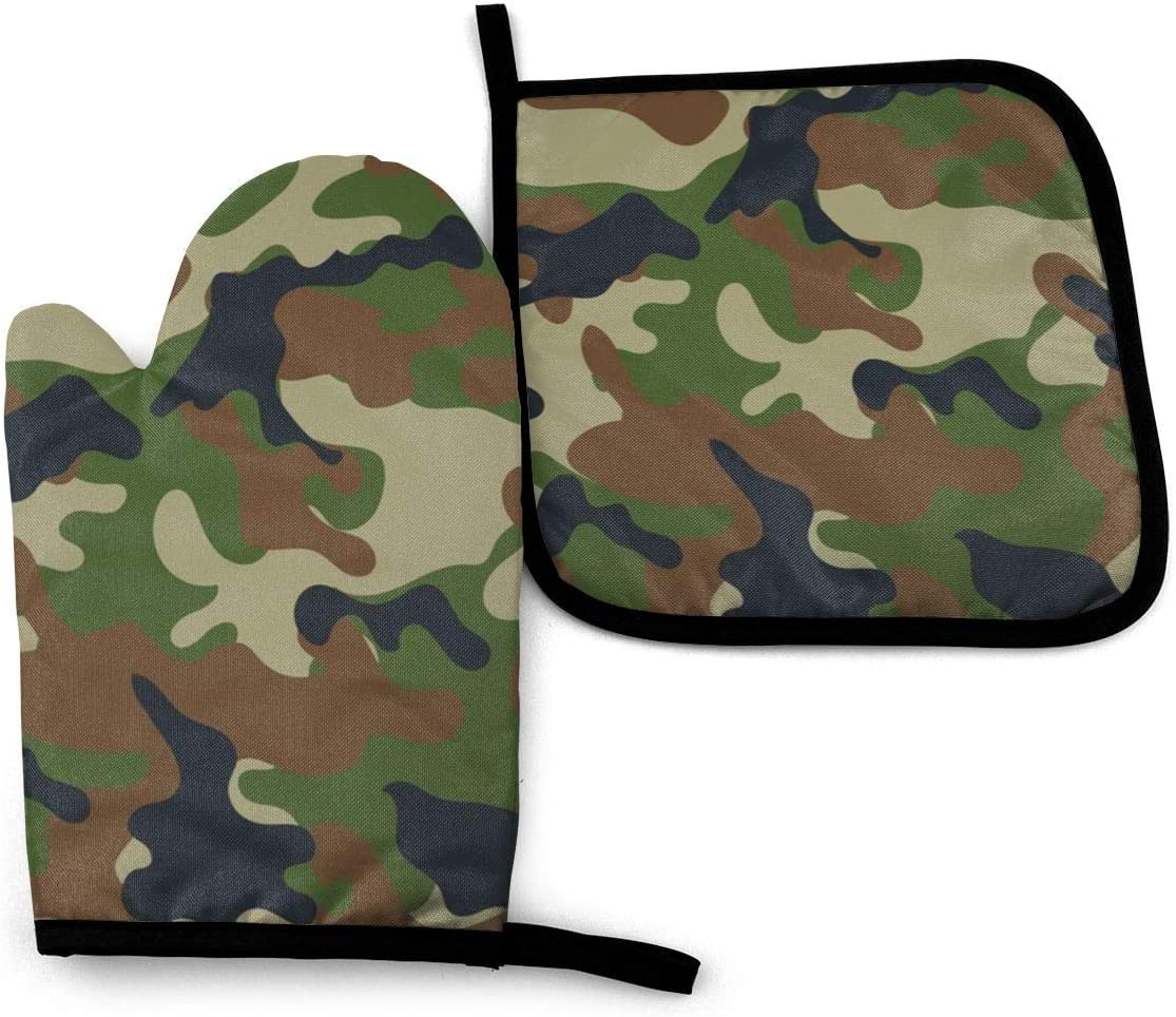 Oven Mitts and Pot Holders Set,Woodland Camo Washable Heat Resistant Kitchen Non-Slip Grip Oven Gloves for Microwave BBQ Cooking Baking Grilling