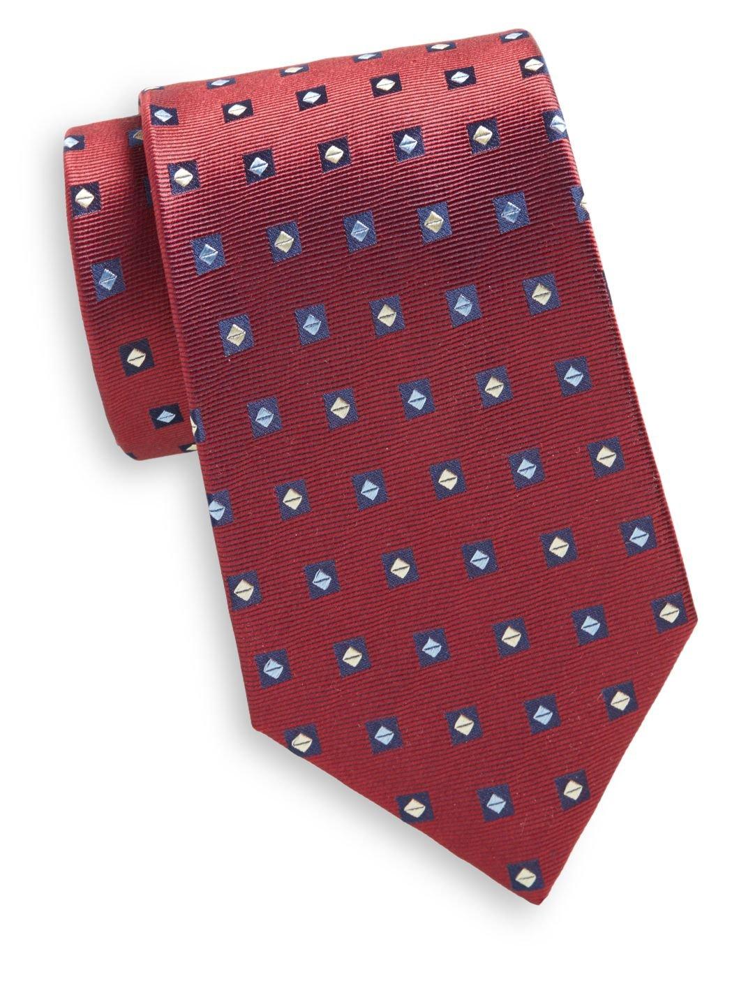 Yves Saint Laurent Men's Diamond Print Silk Tie, OS, Red