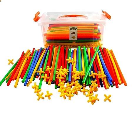 300pcs Straws Builders Construction Building Toys Plastic Connectors Set With Container