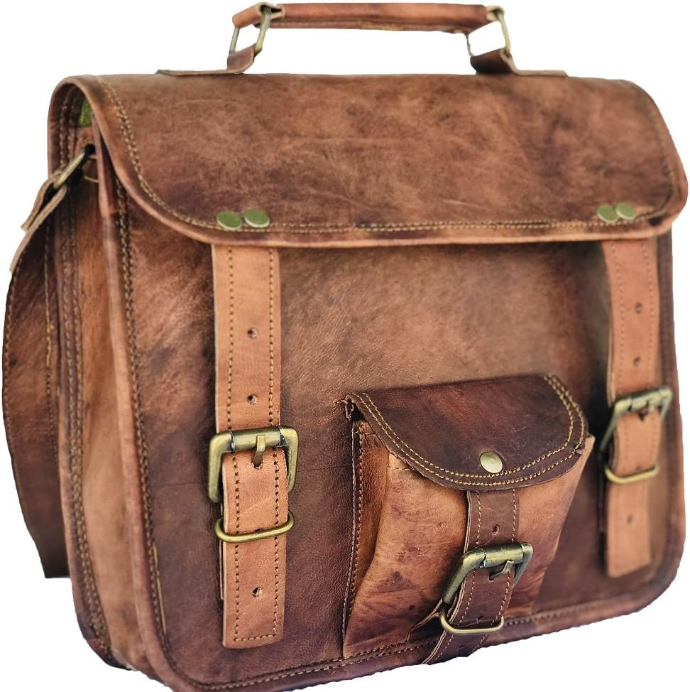 Leather Saddler 11 Men s Woman Genuine Leather Small Briefcase Messenger Satchel Ipad Tab Tablet Bag