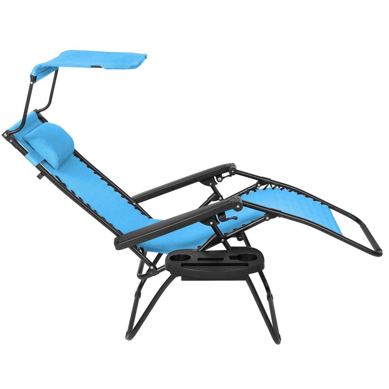 NEW Blue, Folding Zero Gravity Lounge Chair W/ Canopy & Magazine Cup Holder-Light