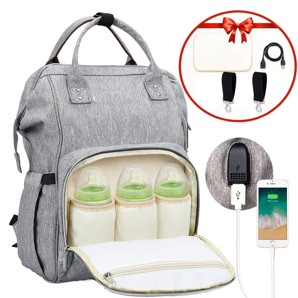 Baby Changing Bags, RINBO Baby Bag Nappy Backpack Bags Travel Backpack, with Large Capacity, Multi-function, Waterproof, Insulated Pocket, Stroller Straps and Changing Mat, Unique Mobile phone USB interface, Great for Mum and Dad. (Gray)