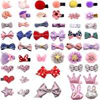 DeD 50 Pieces Mini Hair Bow Clips Multiple Shapes Cute Fine Hair No Slip Baby Hairclips Hair Accessories for Baby Girls Infants Toddler Kid