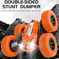 Gooyo Radio Control/ Wireless Electronic Remote Control Double Flip RC Toy Super 360 Degree Stunt Racing Mini Car with Light Chargeable Battery and Charger Toys for Kids/Boys (Orange)