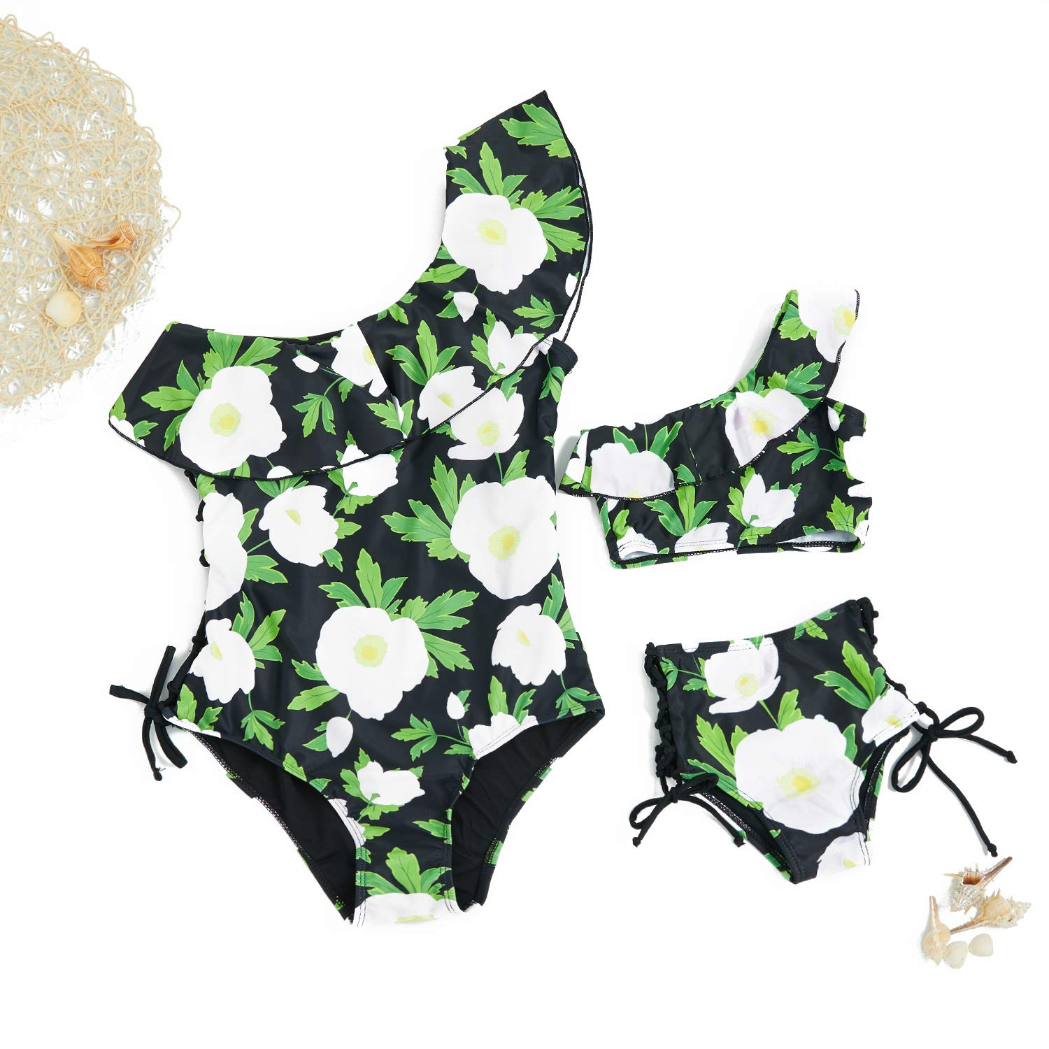 Yaffi Mommy and Me Matching Swim Wear One Piece Bathing Suit Ruffles Floral Printed Single Shoulder Monokini