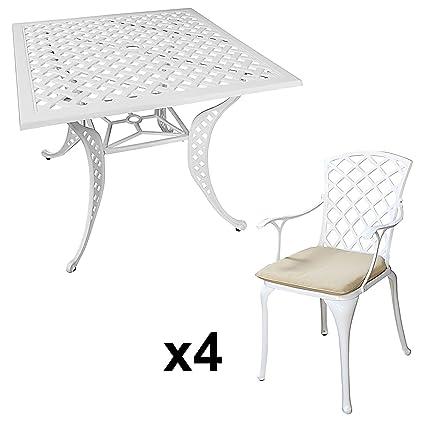 Lazy Susan - Table carrée 91 cm Lucy et 4 chaises de Jardin - Salon de  Jardin en Aluminium moulé, Blanc (chaises Emma, Coussins Beiges)