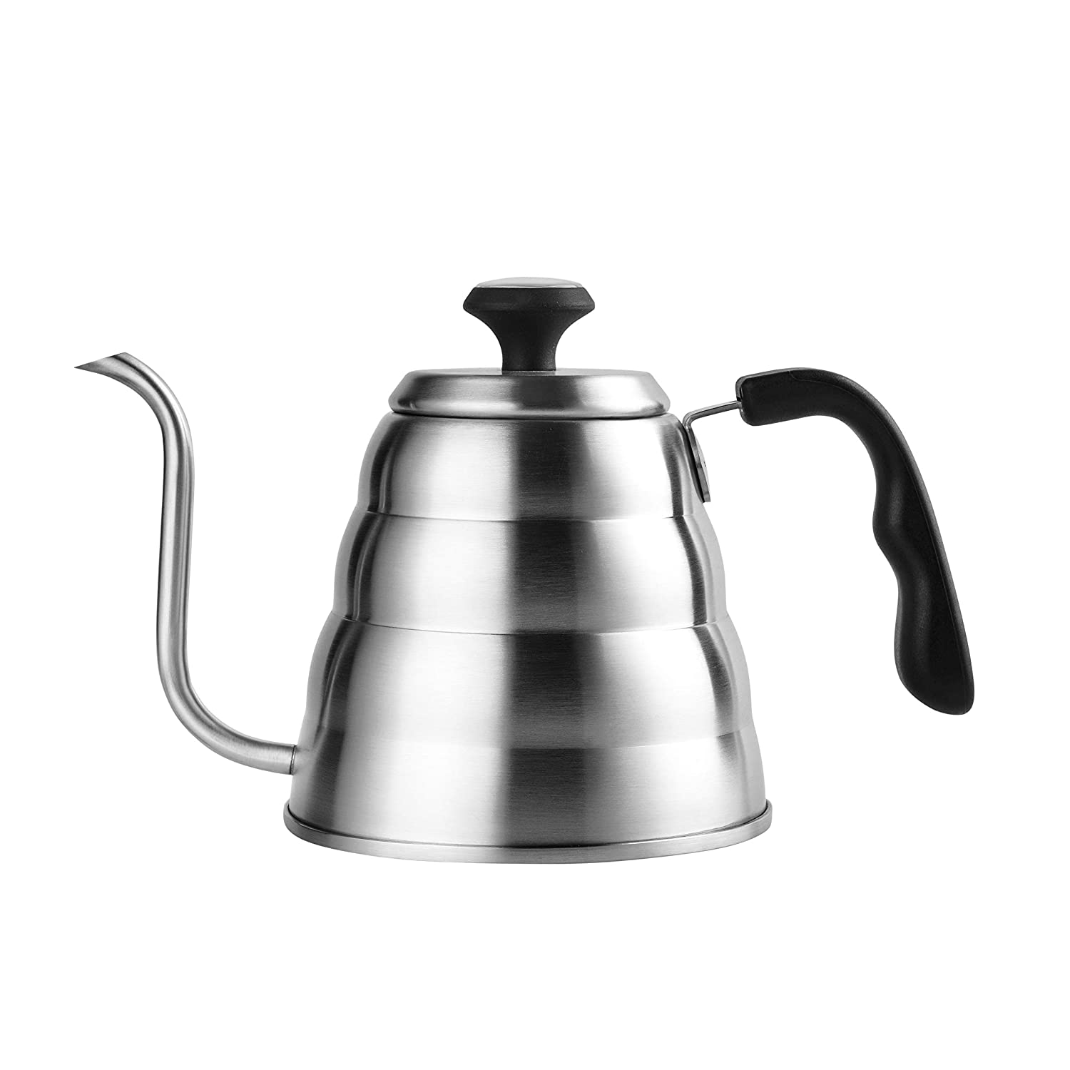 Gooseneck Pour Over Coffee Kettle with Rugged Waterproof Thermometer by KitchenMO-4ofloz/1.2 Liters-Surgical Stainless Steel Spout 0.8mm Thickness-tough Handle-Ergonomic Lid with Double Lock System