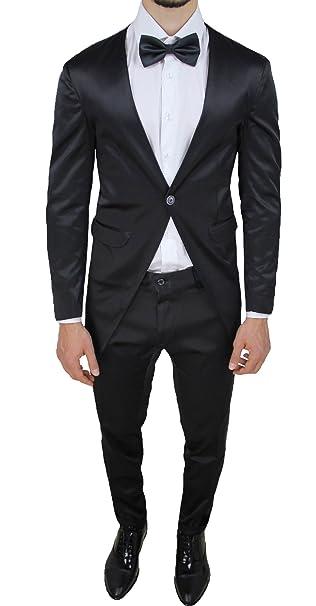 4900045e8d5f Abito smoking uomo sartoriale raso nero lucido tight vestito elegante  cerimonia  Amazon.it  Abbigliamento