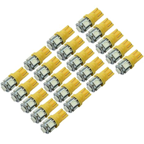 20 x T10 W5W 5 LED 5050 SMD Lámpara Bombilla Luz Naranja para Coche Vehículo