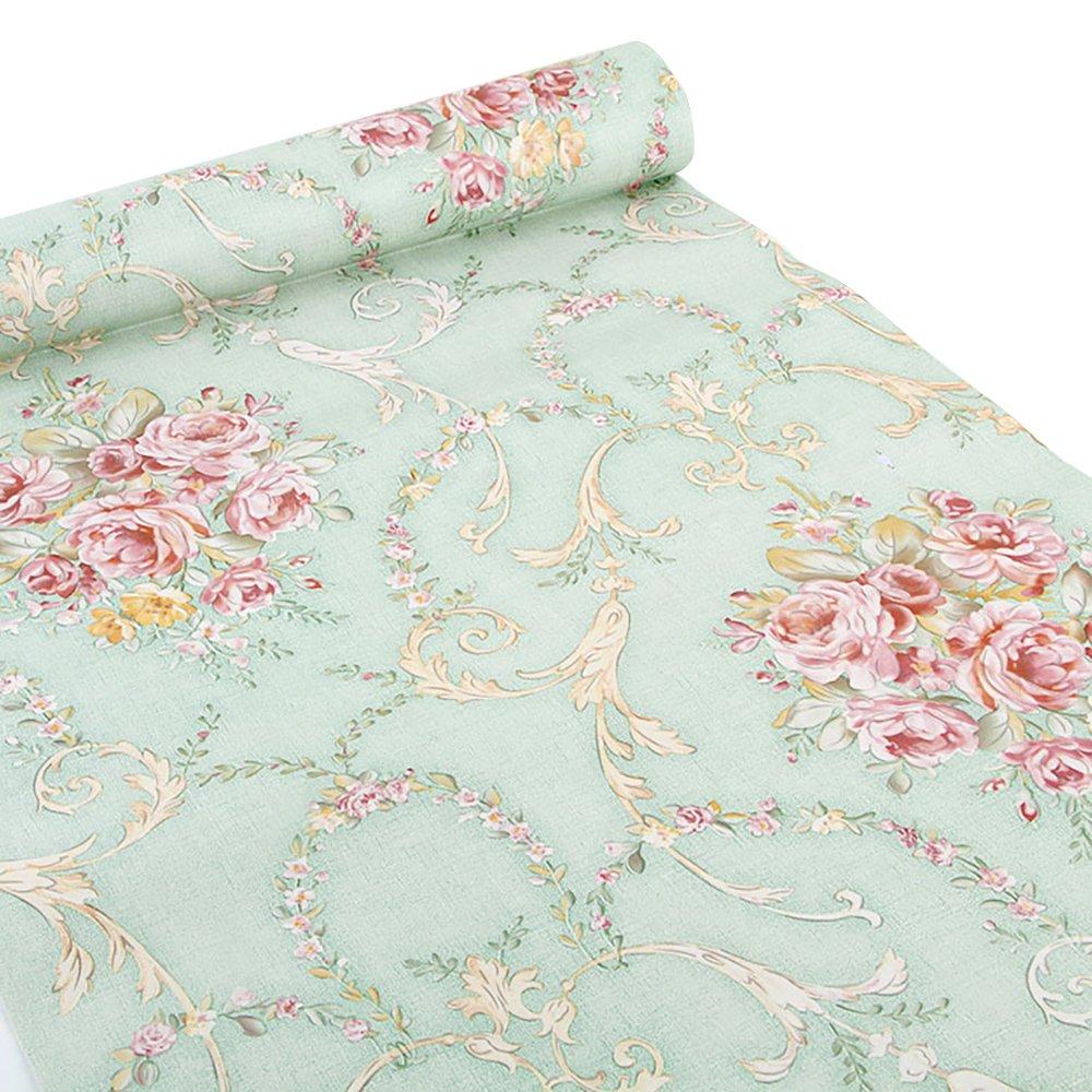 Ya Jin Vintage Flower Shelf Liner Dresser Drawer Sticker Self-Adhesive Cabinet Desk Contact Paper Green