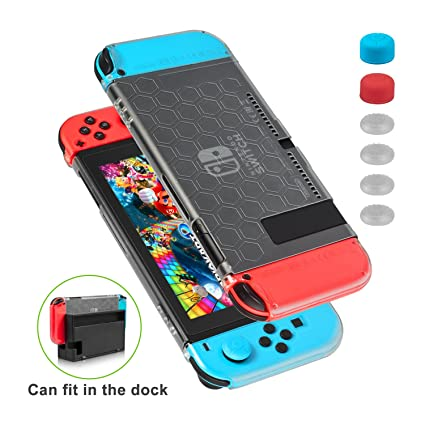 Nintendo Switch Case - Younik Dockable and Scratch Free Ultra Slim Protective Cover Case with 6 Thumb Grips Caps for Nintendo Switch Console and ...