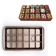MZCH Non-stick Brownie Pan Tin with Dividers, Heavy-duty Divided Brownie Tray, 18-Cavity, 12 by 8 inches, Dark Brown