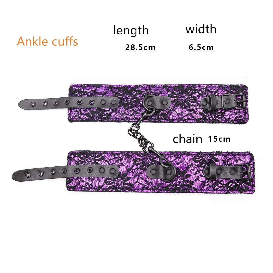 Cvthfyky Cuero de Encaje con Esposas Juguetes de Felpa Pasión Hebilla Tobillo Puños Juguetes Esposas Adultos para el Sexo (Color : Purple, Size : Ankle Cuffs) 0b30a7