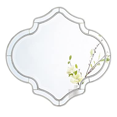 MIRROR TREND Large Wall Mirror Handmade Clear Mirrors 32'' X 35'', Antique Silver
