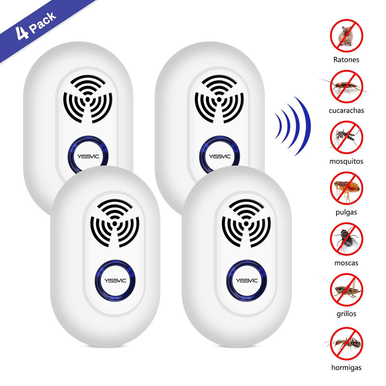 YISSVIC Repelente Ultrasónico Repelente Electrónico Enchufable 4PCS Control de Plagas para Insectos, Cucarachas, Roedores