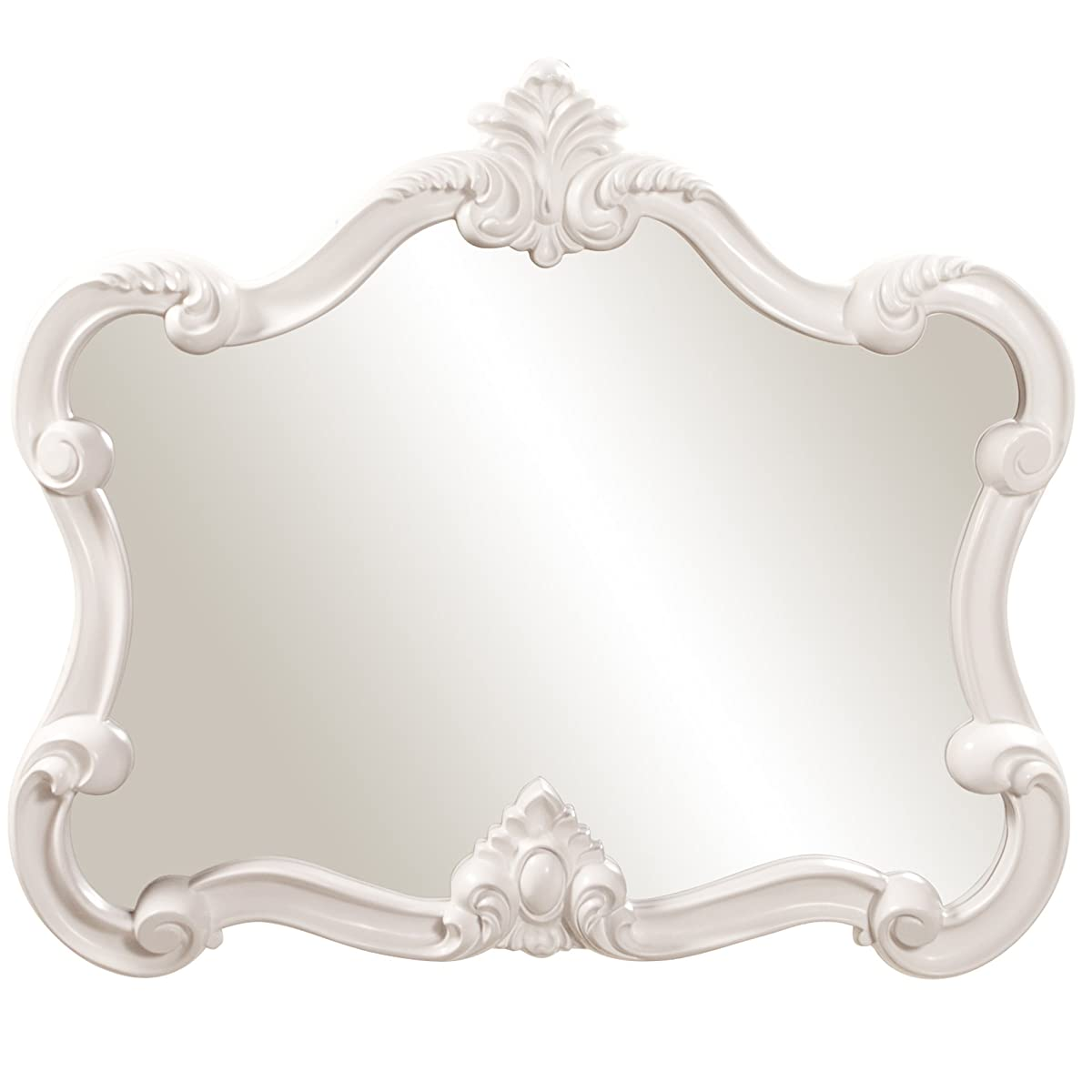 Howard Elliott Veruca Rectangular Mirror, Ornate Wall Piece, Glossy White Lacquer, 28 x 32-Inch