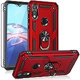 Moto E 2020 case,Motorola E case,with HD Screen Protector, YZOK [Military Grade] Ring Car Mount Kickstand Hybrid Hard PC Soft