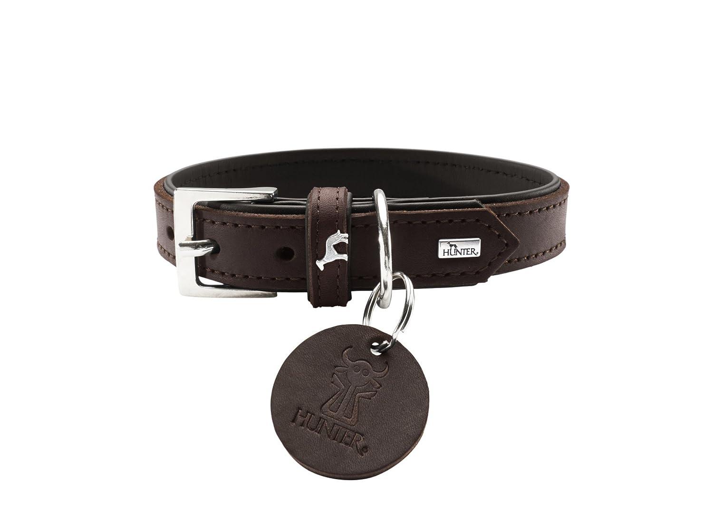 HUNTER Collar Larvik, 45 Soft genuine cow leather, dark brown black