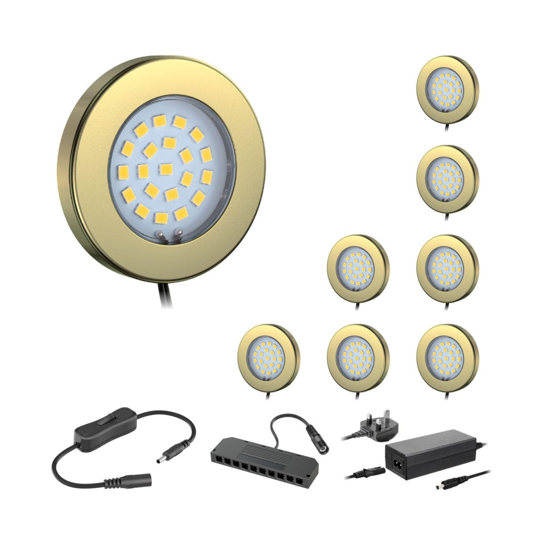 Set of 8 ledscom LED-Unterschrankleuchte Maja, Messing, mit Transformator, rund, flach, 6 cm Ø, 290, warm weiß (Set) BS Modern Set of 8