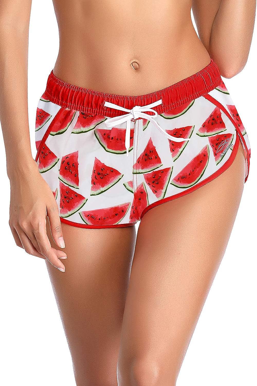 AXESEA Women Board Shorts Drawstring Swim Shorts Quick Dry Swimwear Bottom Boardshorts Gym Sport Stretchy Hot Pants