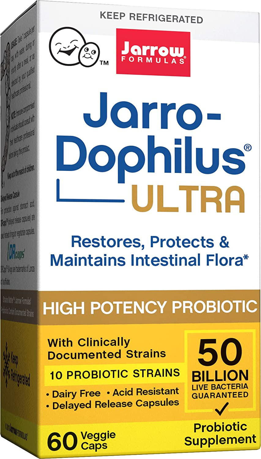 Ultra Jarro-Dophilus, 50 Billion Probiotic Organisms Per Capsule, for Intestinal/Digestive Health, 60 Veggie Caps (Cool Ship, Pack of 3)