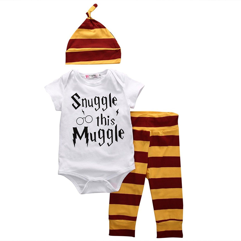 Baby Jungen Mädchen Snuggle This Muggle Strampler Romper + Lange Hosen + Hut Outfits Bekleidungssets
