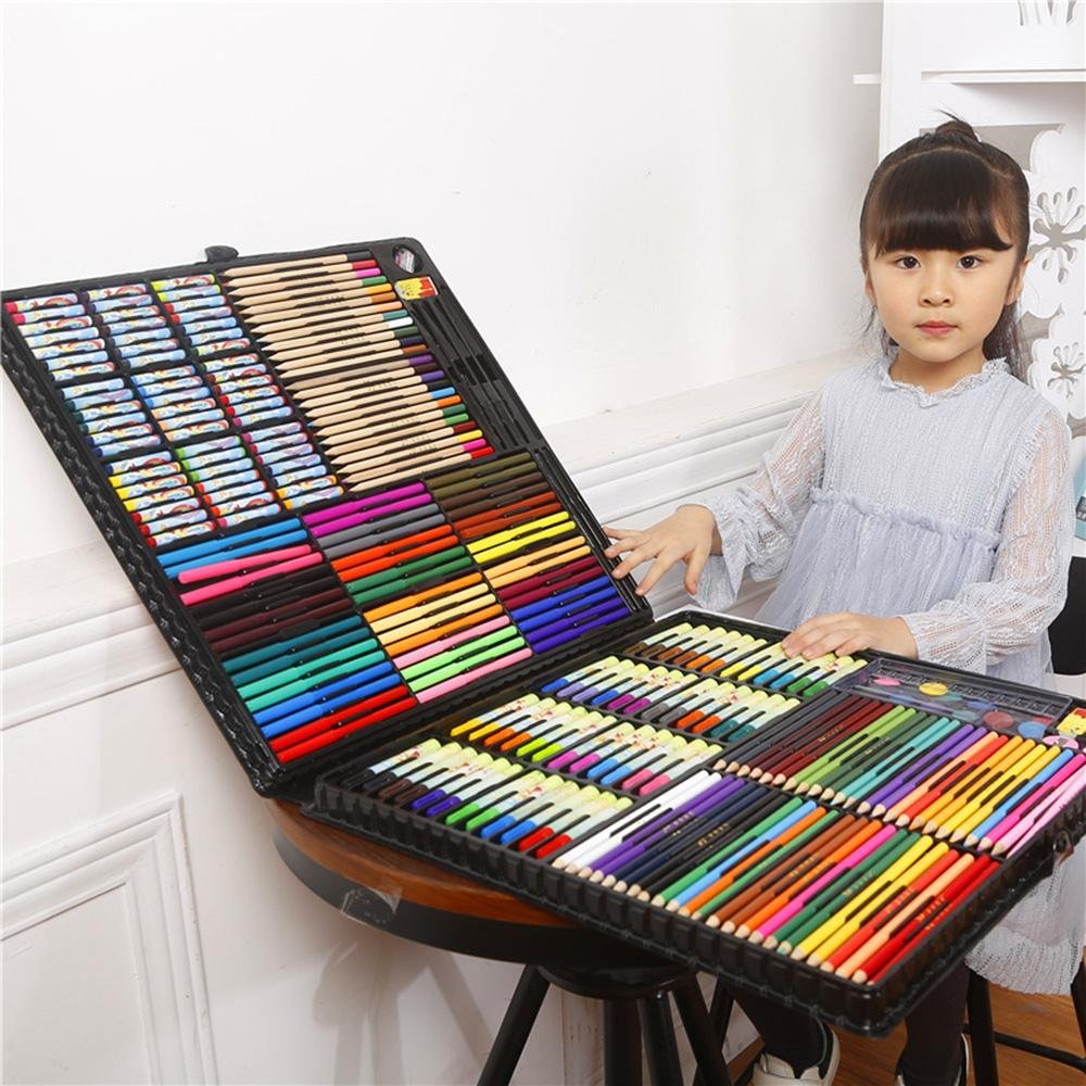 LLZJ Art Drawing Sets Children 288 Pcs Student School Coloured Design Brush Gifts Professional Supplies Stationery Creative Pencils Painting Kids Watercolor Pen, black by LLZJ (Image #2)