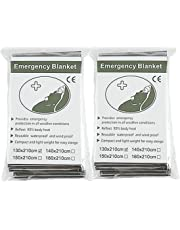 """Emergency Foil Mylar Space Thermal Blanket Survival Reflective Thermal First Aid 52"""" x 83"""" (2-Pack)"""