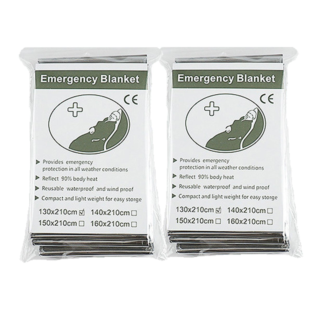 Emergency Foil Mylar Space Thermal Blanket Survival Reflective Thermal First Aid 52' x 83' (2-Pack) DHBJT