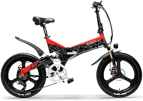 LANKELEISI G650 20 pulgadas de la bici eléctrica plegable 400W 48V 10.4Ah / 12.8Ah / 14.5Ah Liion batería 14.5Ah + 1 batería de repuesto rojo: Amazon.es: Deportes y aire libre