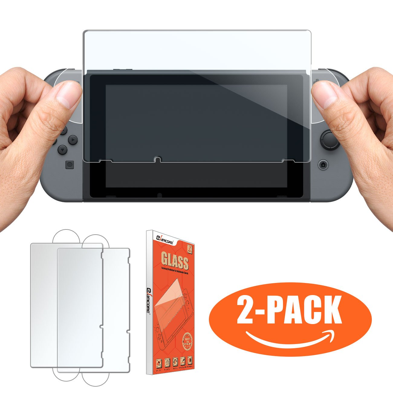 Nintendo Switch Tempered Glass Screen Protector, eSamcore [2-Pack] [Bubble Free] Glass Screen Protector For Nintendo Switch 2017