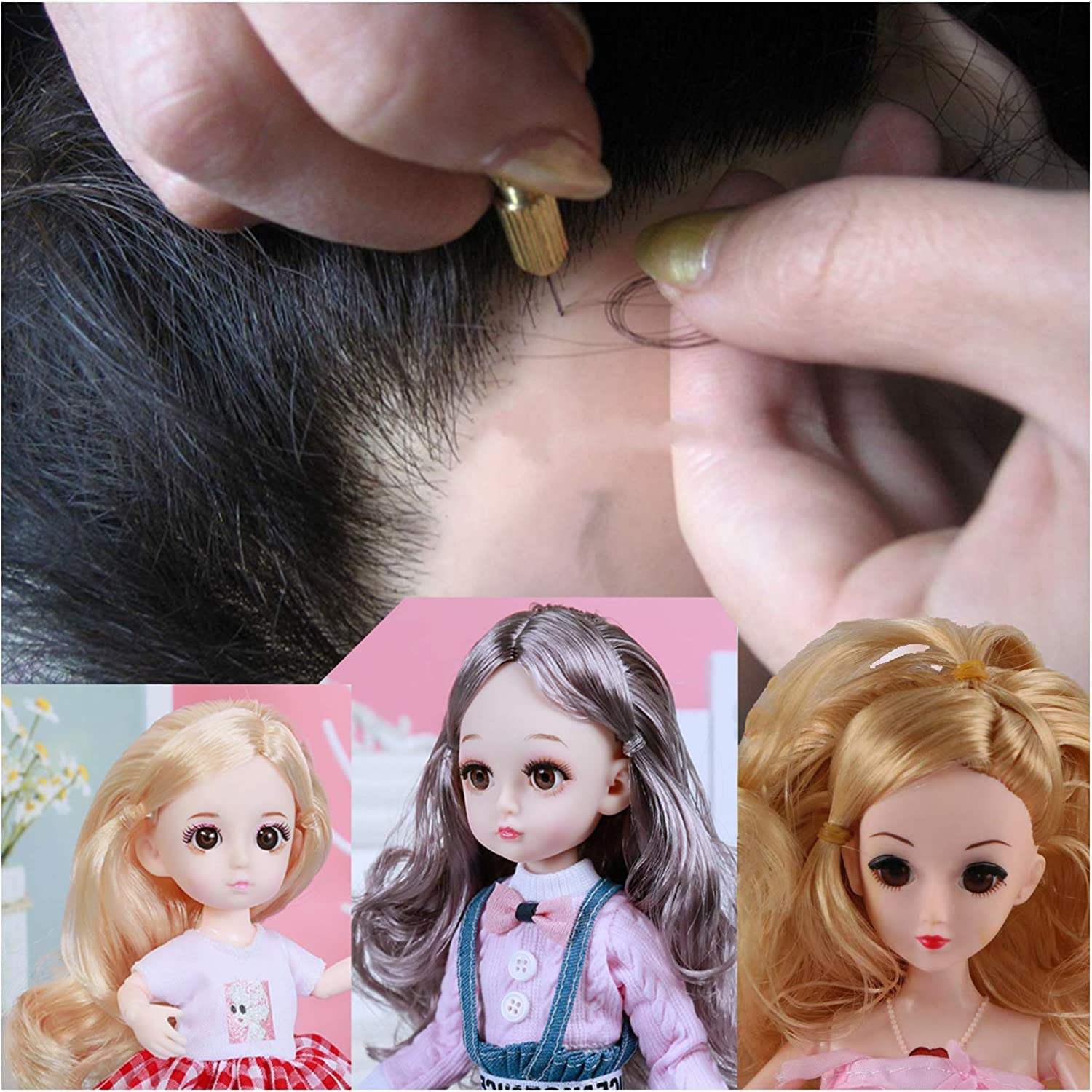 Doll Hair Rooting Reroot Rehair Tool Holder with Extra Needles for Girls Doll Hair Making Tools Doll Wig Tool Accessories