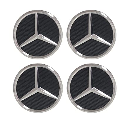 Carhome01 Set of 4 Wheel Center Rims Hub Caps for Mercedes-Benz,75mm Black