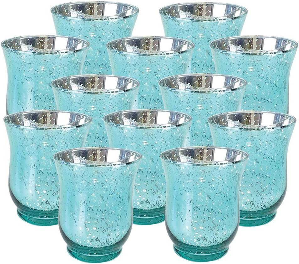 Just Artifacts Mercury Glass Hurricane Votive Candle Holder 3.5-Inch (12pcs, Speckled Aqua) - Mercury Glass Votive Tealight Candle Holders for Weddings, Parties and Home Décor