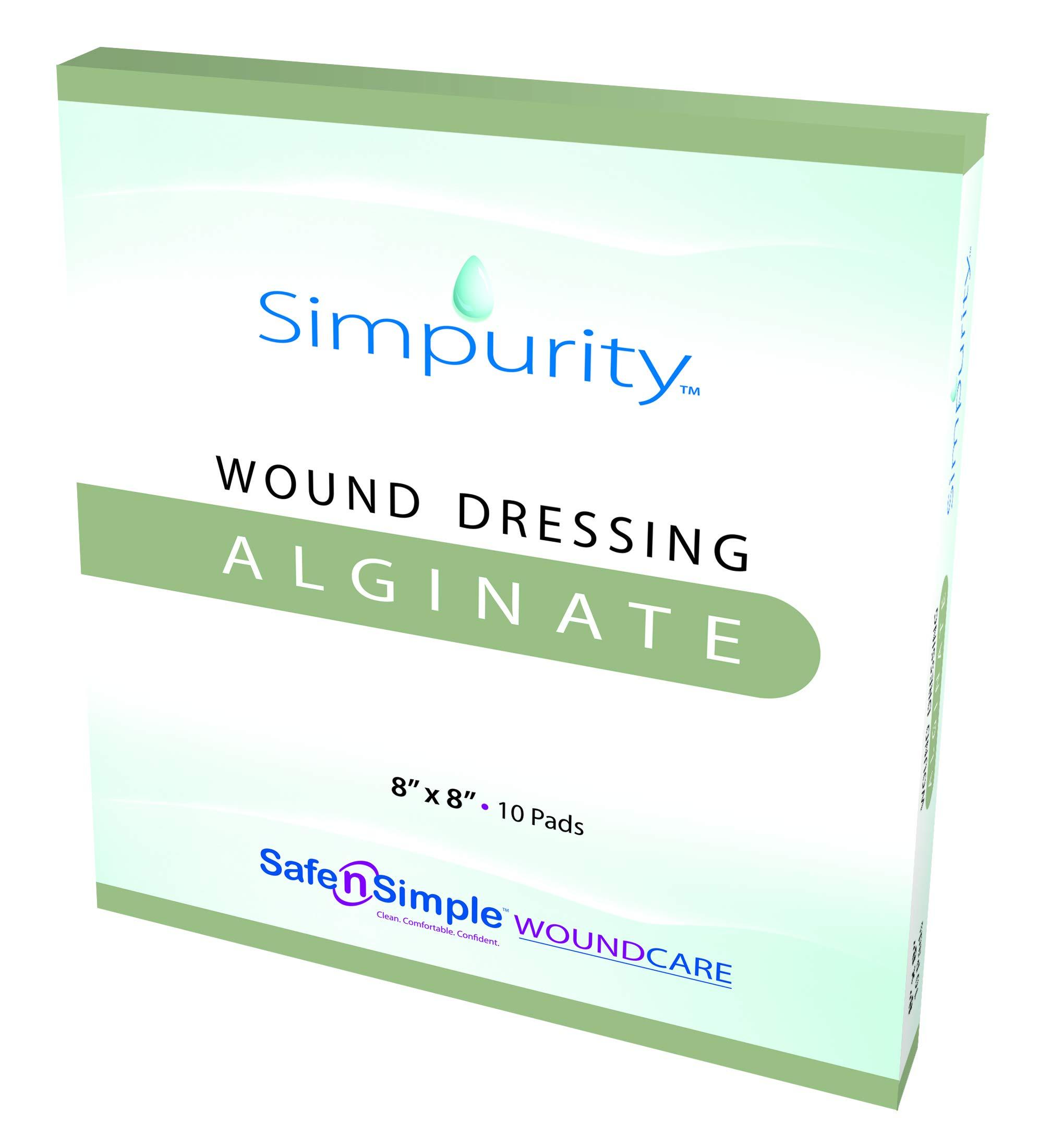Simpurity Calcium Alginate Wound Dressing, 8'' x 8'', Box of 10 by Simpurity