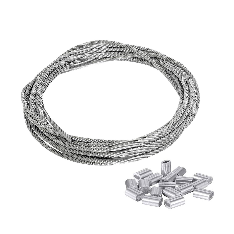 Guanici 1.5mm X 30M 7 * 7 Cable Acero Trenzado Con Manguito de Engarzado de Aluminio de 30 piezas para Colgar Marco de Imagen Suspensión,Bosques, Cercas, Balcones, Tendederos (Carga máxima: 170 KG)
