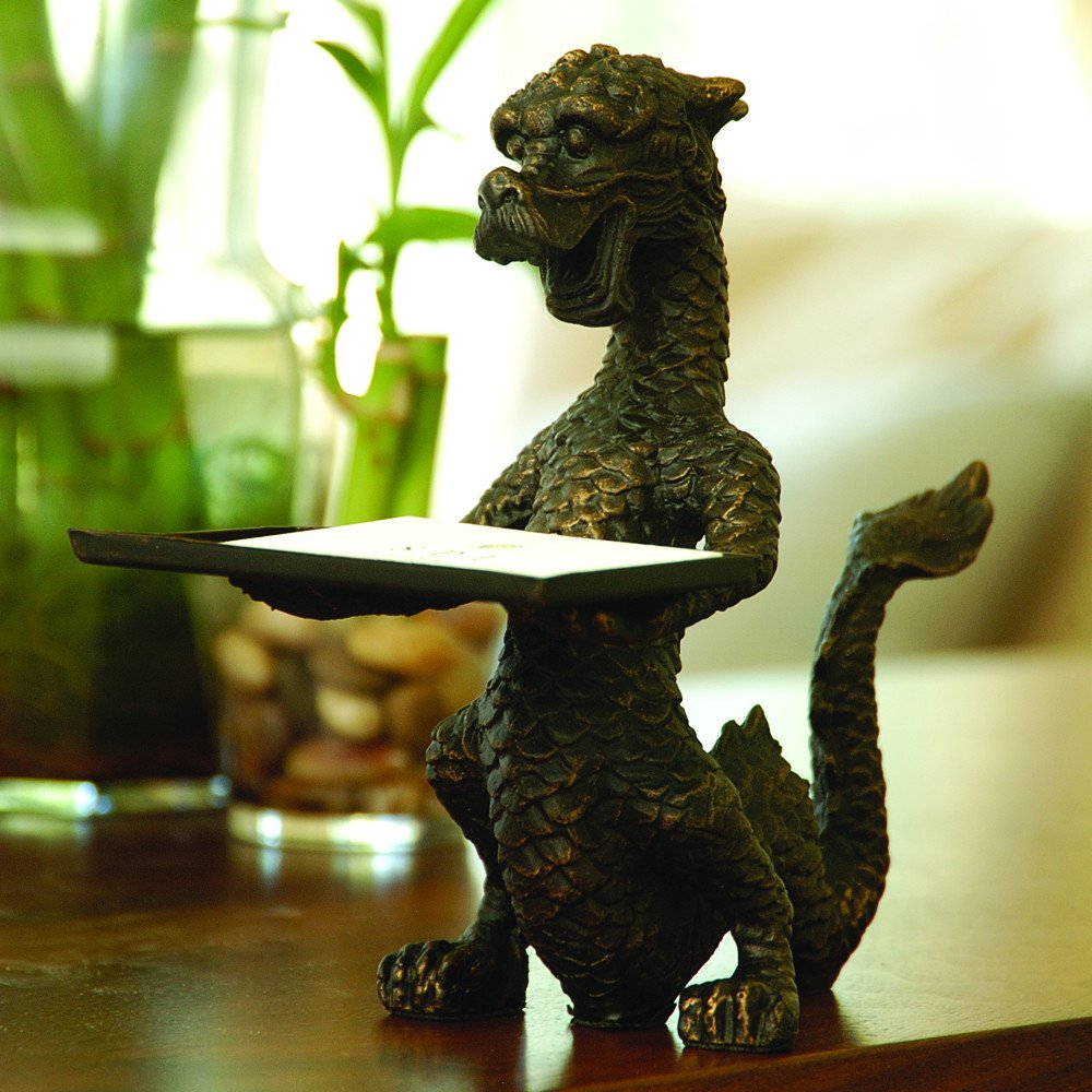 SPI Dragon Business Card Holder 6 1/4 Inches Tall Iron With A Bronze ...