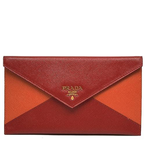 d90cacdcbd4b Prada Color Block Red & Orange Saffiano Leather Letter Clutch Handbag  Wallet Bag 1M1175: Amazon.ca: Shoes & Handbags