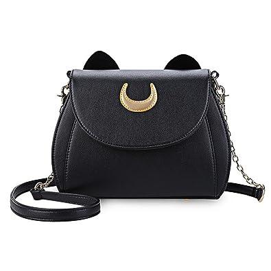 Toping Fine Sailor Moon Ladies Handbag Black Luna Cat Shape Chain Shoulder  Bag PU Leather Women c9b7bf211ed26