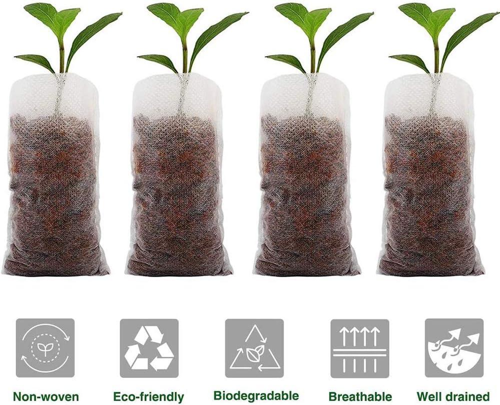 AISE 100 pcs Semis Pot Organique Biod/égradable Cultiver Sacs /Écologique Plantes P/épini/ère Sac Ventiler Croissance Plantation Sac R/écipient Sac de Culture Sac Jardin Fournitures