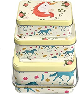 Unicorn Cookie Tins DIY Candy Containers Food Storage Tins Gift Packing Tins Set of 3