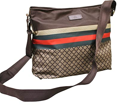 1c00db35500 Image Unavailable. Image not available for. Colour  Gucci Men s Brown Nylon  Sling Messenger Bag ...