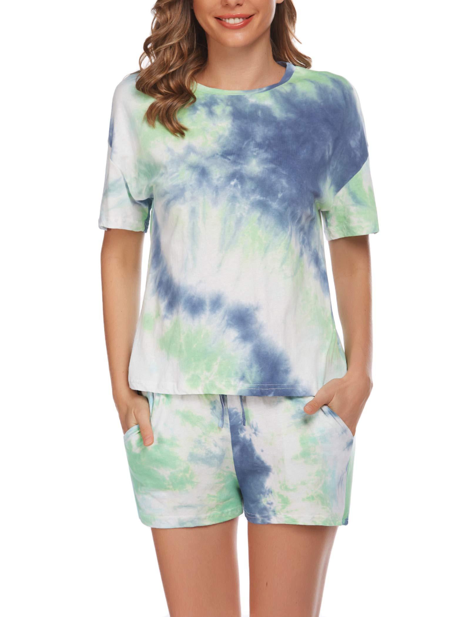 Evanhome Women Pajamas Set Short Sleeve 2 Piece PJ Set V-Neck Tops