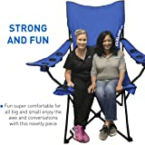 Giant Oversized Big Portable Folding Camping Beach Outdoor Chair with 6 Cup Holders! Fold Compact into Carry Bag