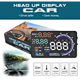 Heads Up Display, Smarter 5.5'' A8 Car HUD Head Up Display with OBD2 Interface Plug Display KM/h MPH Speeding Warning Fuel Consumption