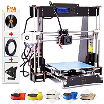 3D Printers, CTC A8-W5 Pro DIY LCD Screen Desktop 3D Printer Kit with  Shockproof Aviation Wood Frame, Free 1 75mm ABS/PLA Printer Filament(Build