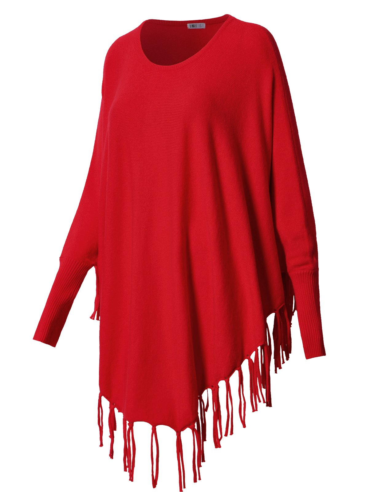 H2H Womens Comfy Scoop Neck Long Sleeve Knit Fringe Poncho Sweater Top RED US M/Asia M (CWOSWL048)
