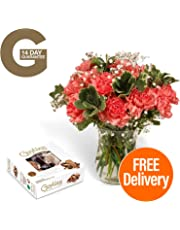 Fresh Flowers Delivered - Delivery Included - 18 Pink Carnations Bouquet with Chocolates, Flower Food and BONUS Ebook Guide - Perfect for birthdays, anniversaries and thank you gifts