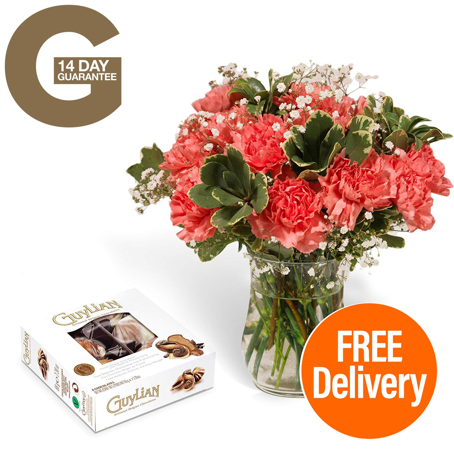 Fresh Flowers Delivered - Delivery Included - 18 Pink Carnations Bouquet with Chocolates, Flower Food and BONUS Ebook Guide - Perfect for birthdays, anniversaries and thank you gifts Guernsey Flowers